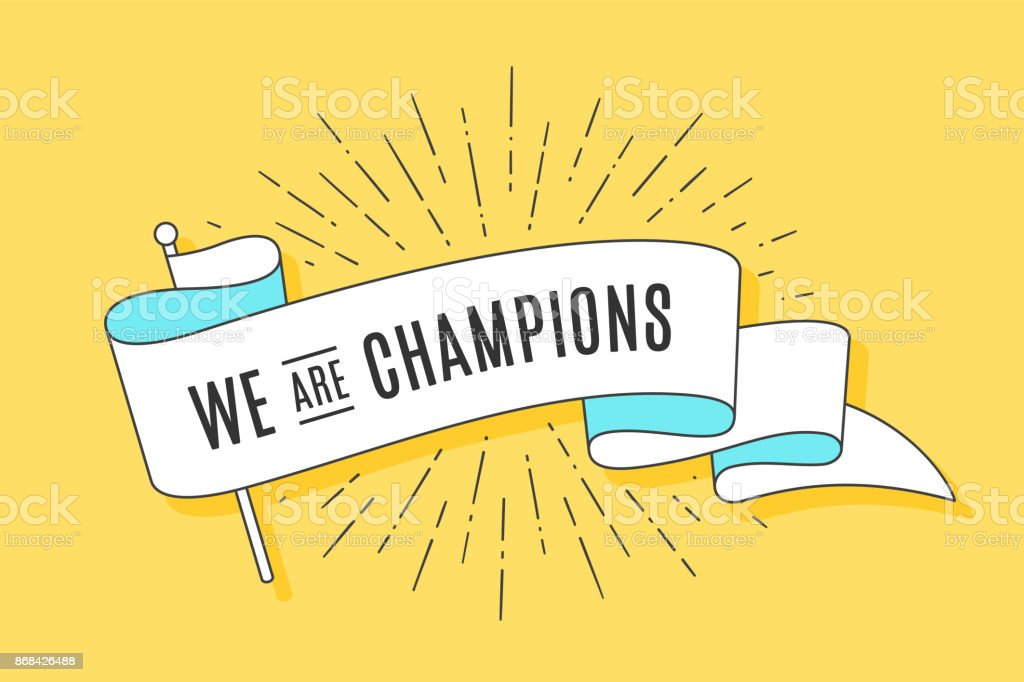 Vintage ribbon flag We are Champions vector art illustration