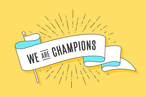 Vintage Ribbon Flag We Are Champions - Stockowe grafiki wektorowe i więcej obrazów Baner