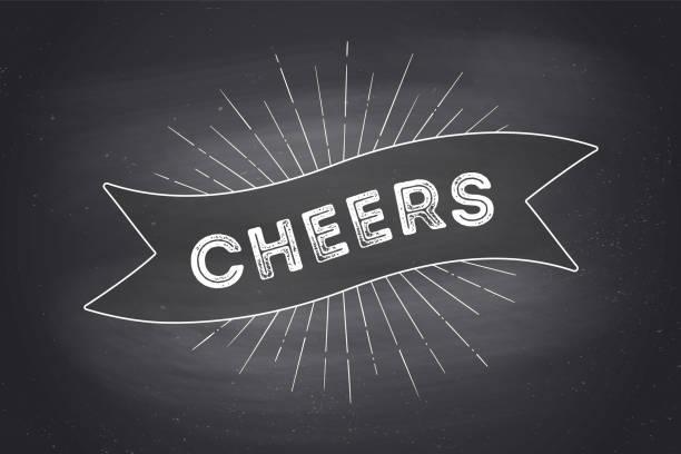 stockillustraties, clipart, cartoons en iconen met vintage lint met tekst cheers - cheering