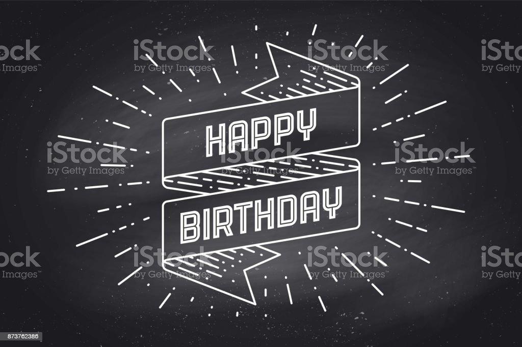 Vintage ribbon with text Happy Birthday