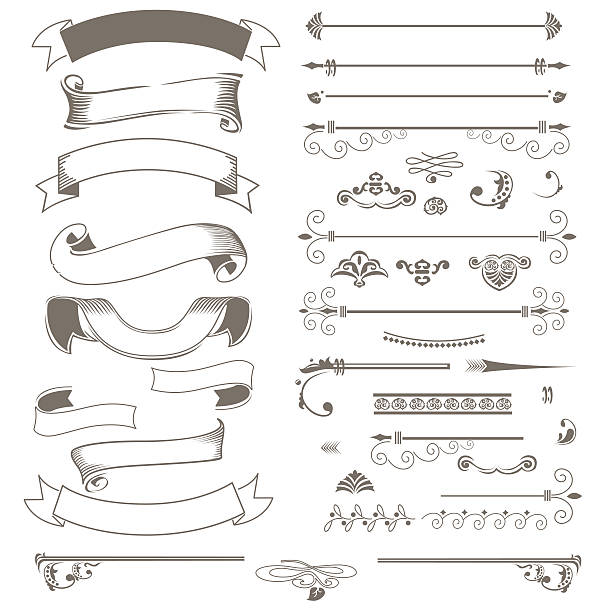 ilustrações, clipart, desenhos animados e ícones de vintage ribbons and design elements - tatuagens de faixas
