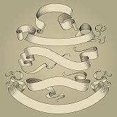 Set of vintage ribbons in engraving drawing style. Vector illustration
