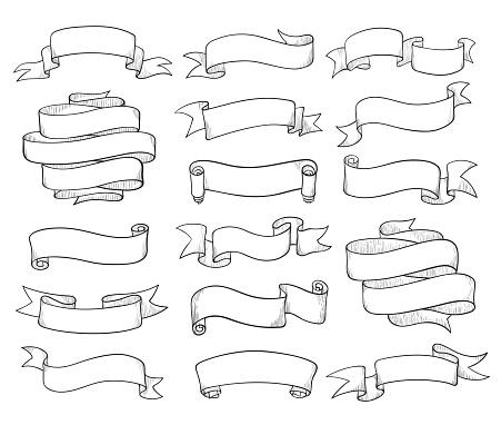 Vintage ribbons sketch