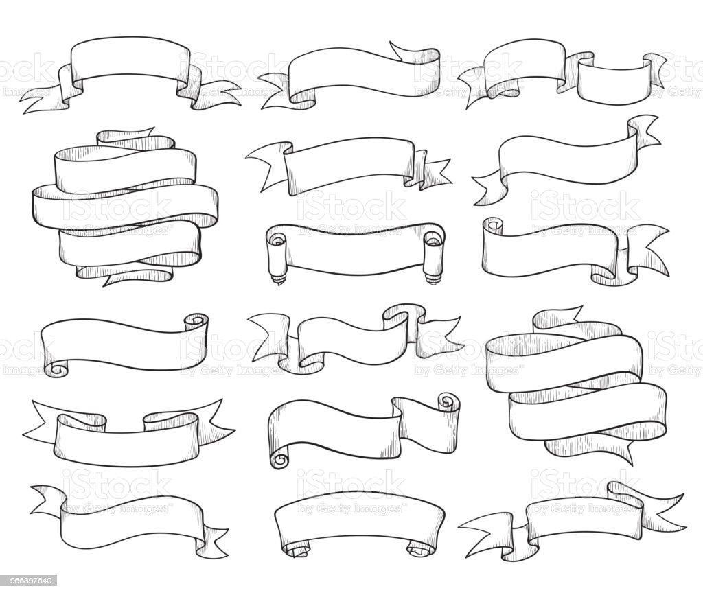 Vintage ribbons sketch vector art illustration
