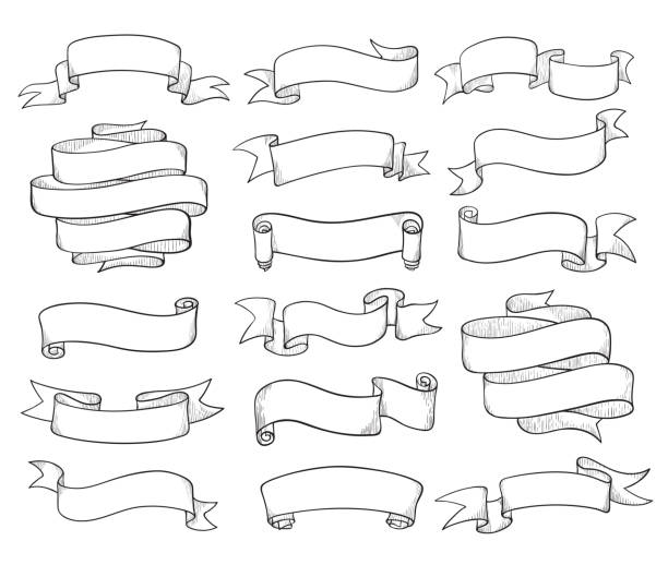 vintage ribbons sketch - ribbon sewing item stock illustrations