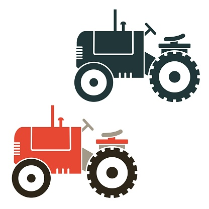 Red and black retro riding mower vectors illustrations