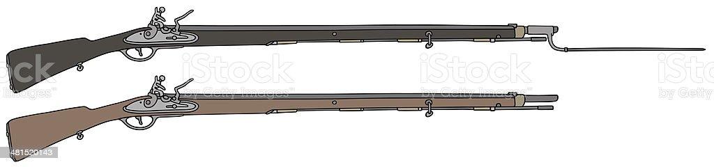 vintage rifle vector art illustration