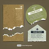 Vintage ripped label paper design background