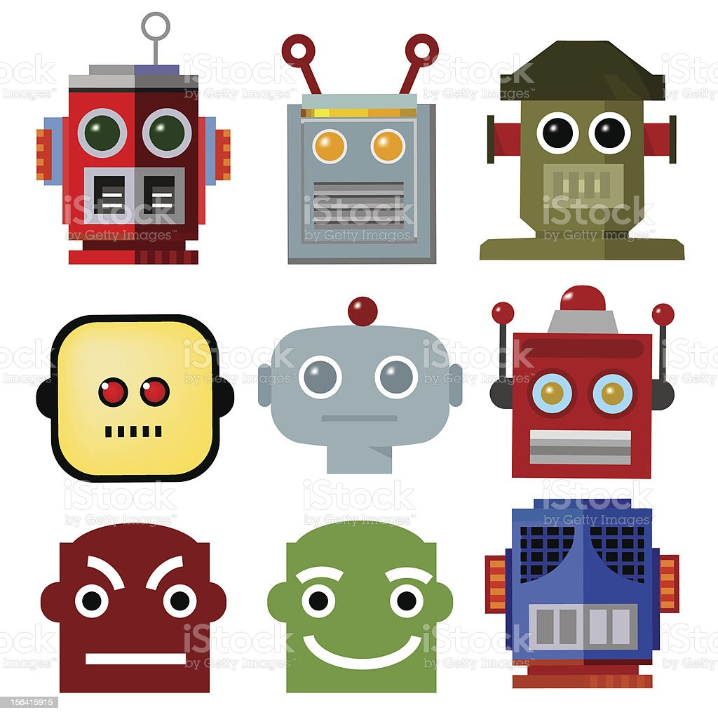 Vintage Robot Head Icons Stock Vector Art & More Images of Blue ...