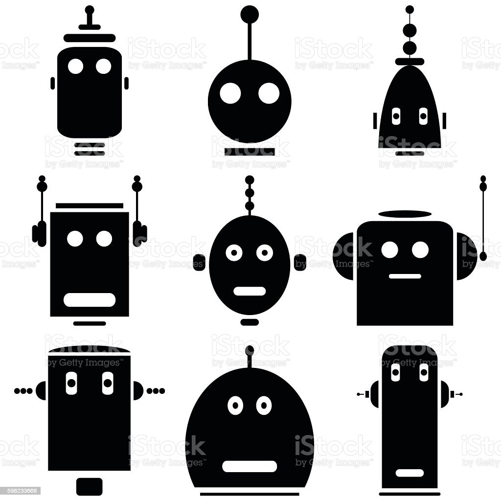 Vintage Robot heads icons in  black and white ilustração de vintage robot heads icons in black and white e mais banco de imagens de abstrato royalty-free