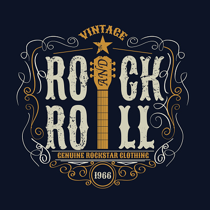vintage rock and roll typograpic for t-shirt ,tee designe,poster