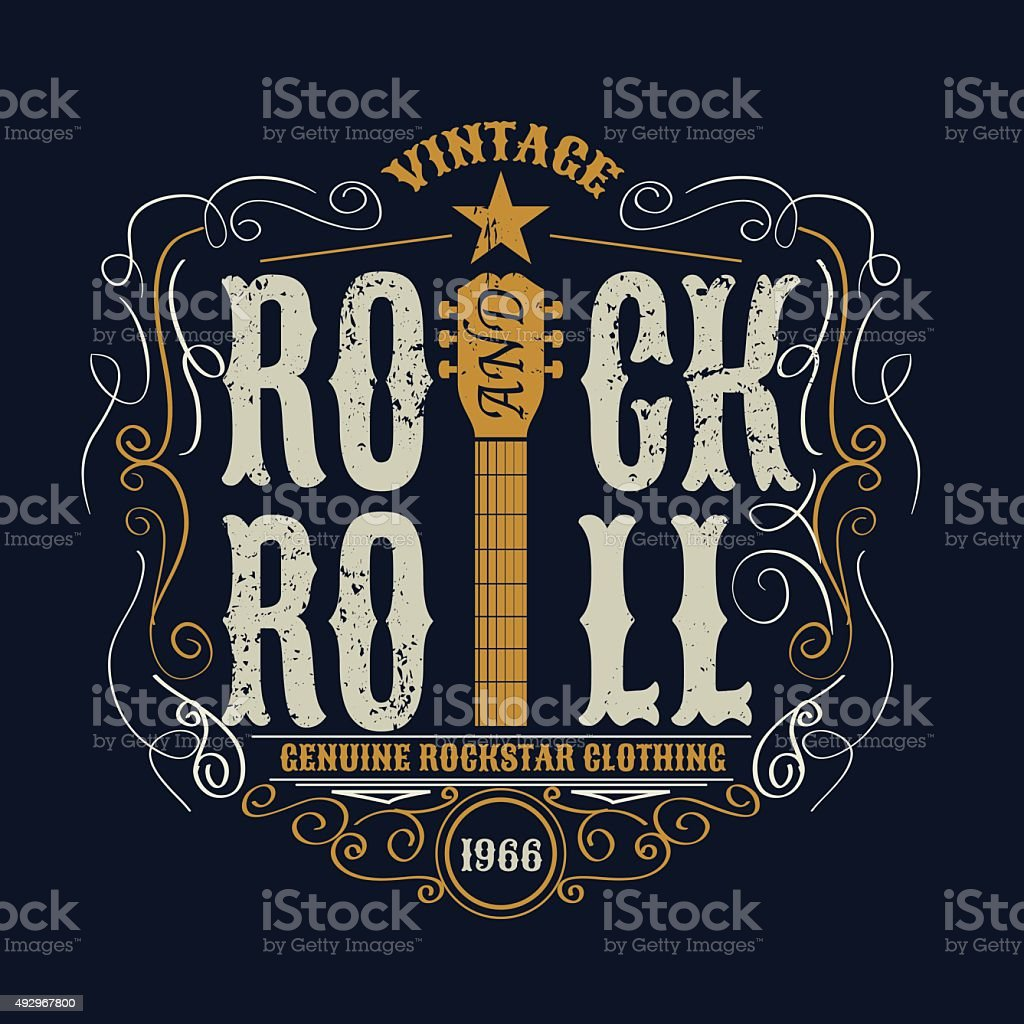 vintage rock and roll typograpic for t-shirt ,tee designe,poster vector art illustration