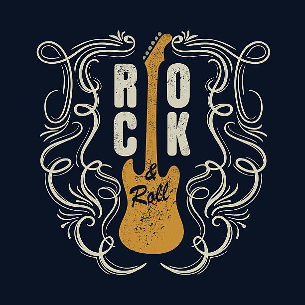 vintage rock and roll typograpic for t-shirt ,tee designe,poster - hippie fashion stock illustrations, clip art, cartoons, & icons