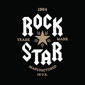 """monochrome vector hipster retro badge , label  """" rock star """" for poster ,  flayer or t-shirt print with lettering , star , starburst and ray"""