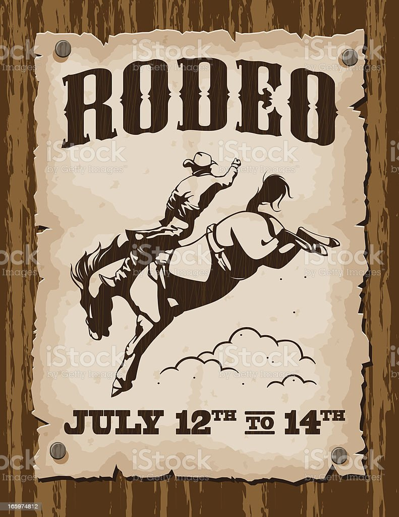 Vintage Rodeo Poster royalty-free stock vector art