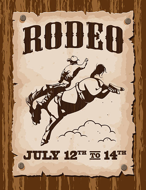 vintage rodeo poster - rodeo stock illustrations, clip art, cartoons, & icons