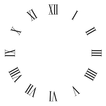 Vintage Roman Numerals Clock Face Vector Isolated On White