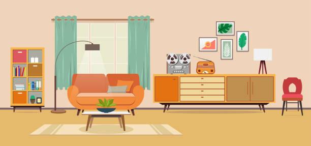 Vintage room Living room inside of stock illustrations
