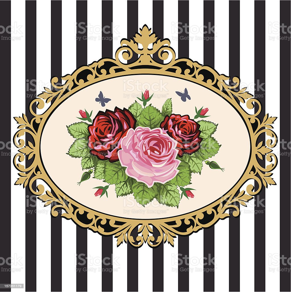 Vintage rose bouquet frame vector art illustration