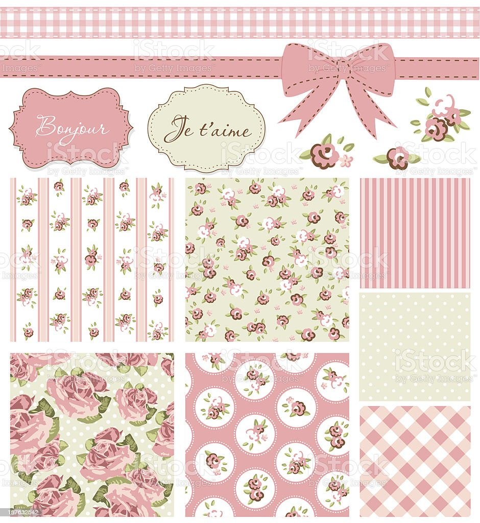Vintage Rose Pattern, Vintage Rose Pattern, frames and cute seamless backgrounds. Ideal for printing onto fabric and paper or scrap booking. Backgrounds stock vector