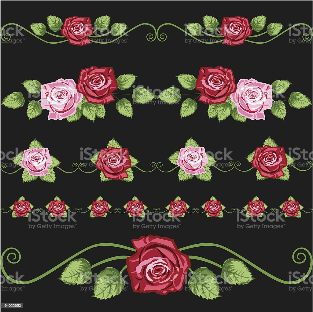 Vintage roses on the black vector art illustration