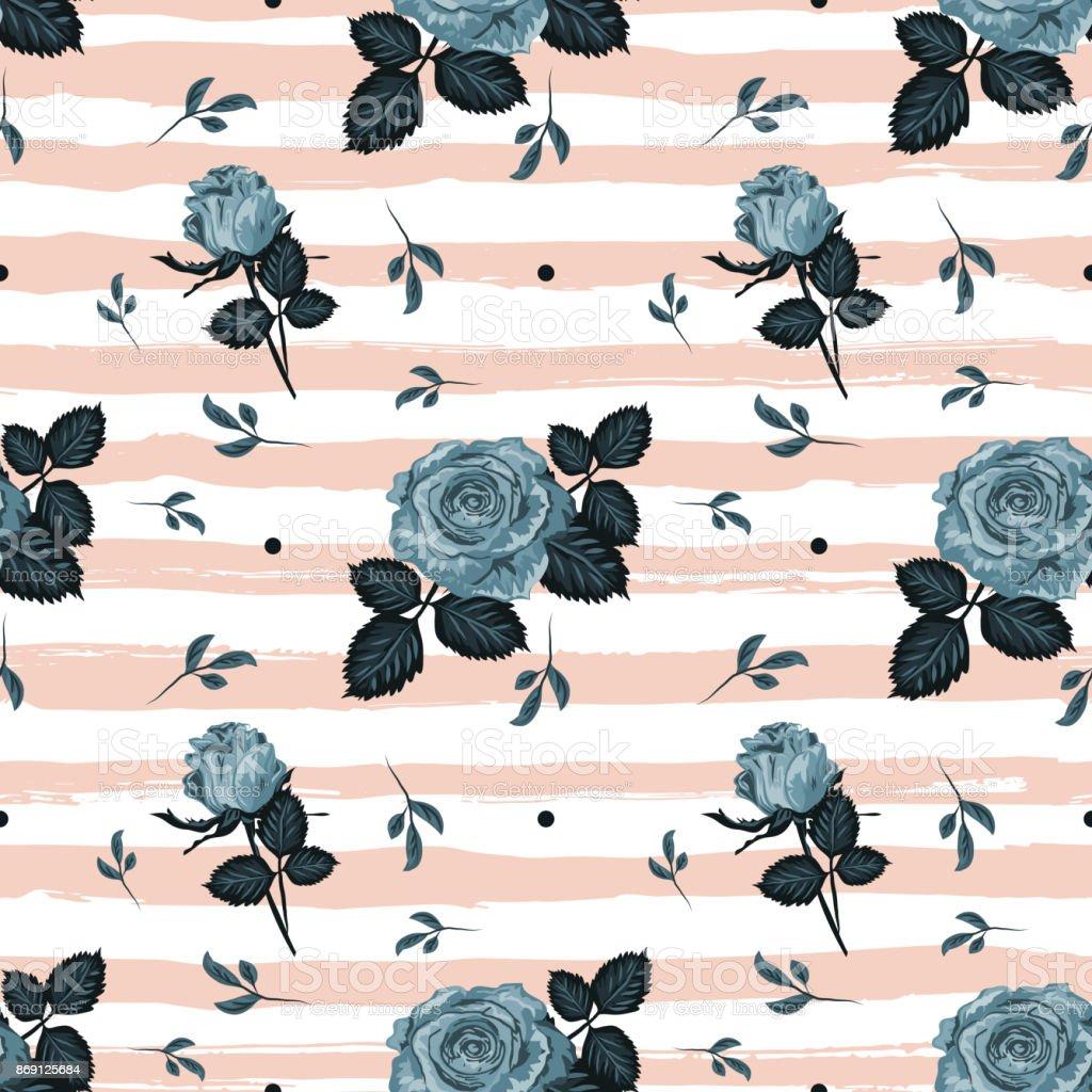 Vintage Roses Pattern Hand Drawn Blue Striped Background Floral Backdrop Flowers