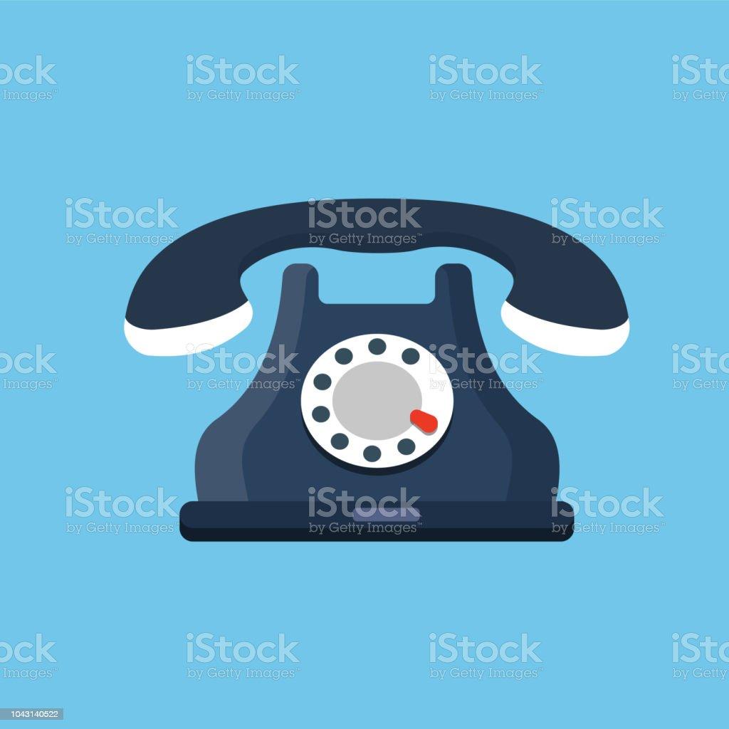 Vintage rotary telephone icon vector art illustration