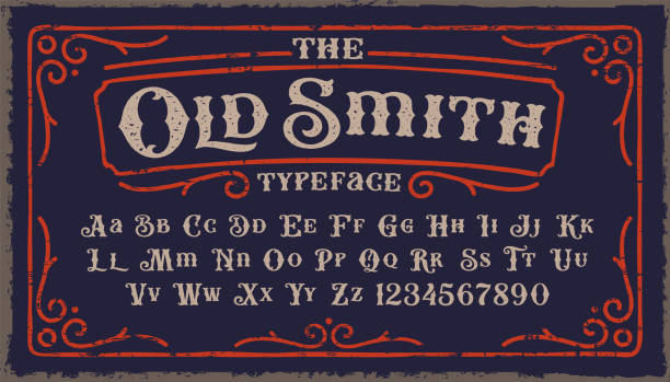 A Vintage Rough Font in Victorian style A Vintage Rough Font with upper and lower case and numbers as well. It's perfect for packaging, posters, and many other purposes alphabet borders stock illustrations