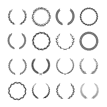 Vintage round branch borders. Laurel and oak heraldry wreaths. Award, achievement, nobility vector design elements isolated