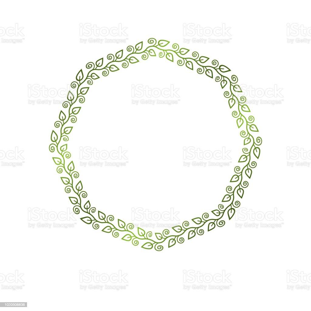 Moldura redonda vintage criada com ornamento natural do estilo de ecologia, folhas verde primavera. Ilustração em vetor brasão heráldico emblema decorativo isolada, eco-friendly. - ilustração de arte em vetor