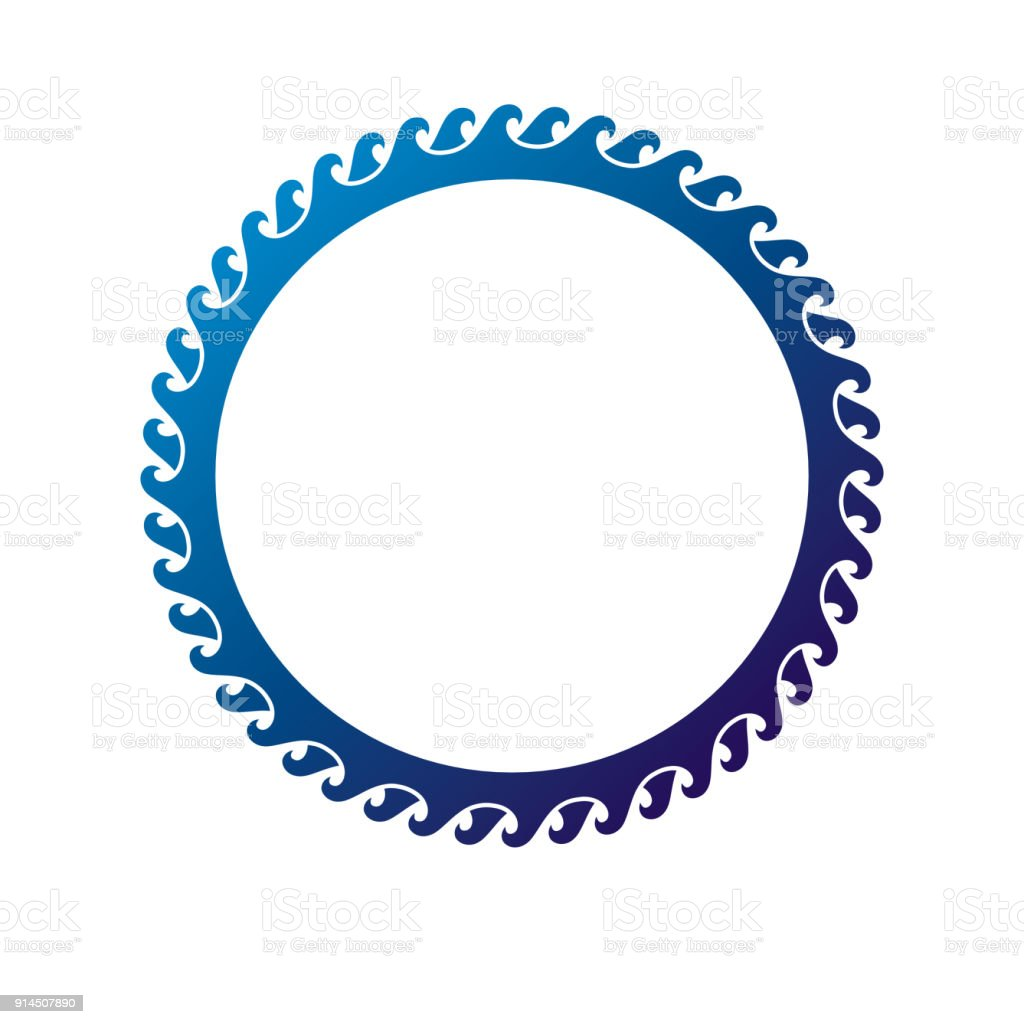 Vintage round frame created with marine ornament, blue sea waves. Heraldic Coat of Arms decorative emblem isolated vector illustration. vector art illustration