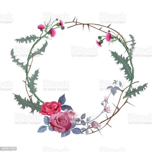 Vintage round frame thistle red roses prickly branches on white vector id902947322?b=1&k=6&m=902947322&s=612x612&h=boku6a qqaozo yduhezz khb3az lio8qjiu0eg5au=