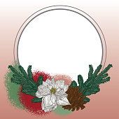 A simple circular frame featuring a poinsettia bloom, pine cone and pine branches.