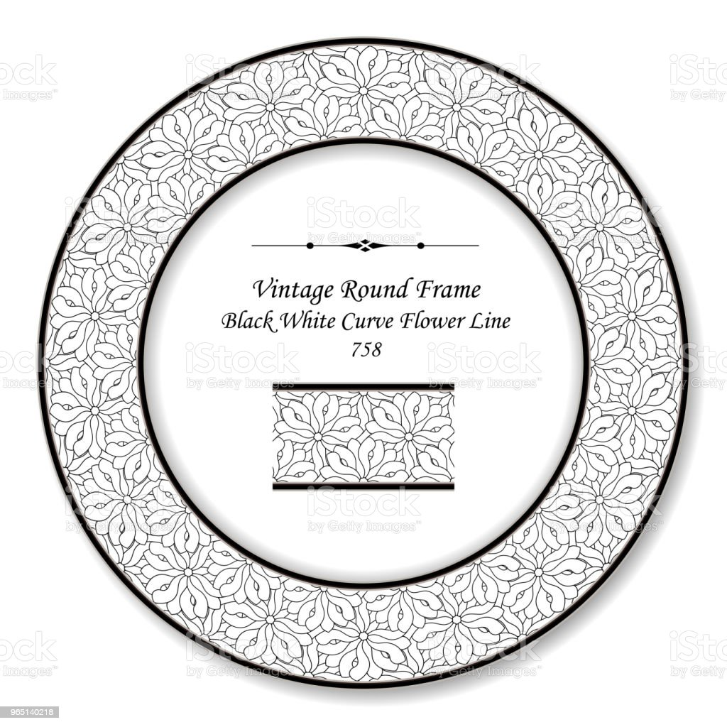 Vintage Round Retro Frame black white curve flower line royalty-free vintage round retro frame black white curve flower line stock vector art & more images of backdrop - artificial scene