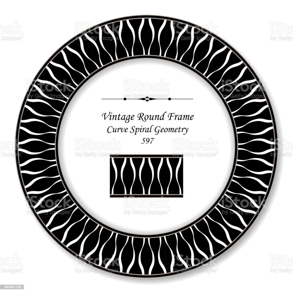 Vintage Round Retro Frame black white curve spiral cross geometry royalty-free vintage round retro frame black white curve spiral cross geometry stock vector art & more images of backdrop