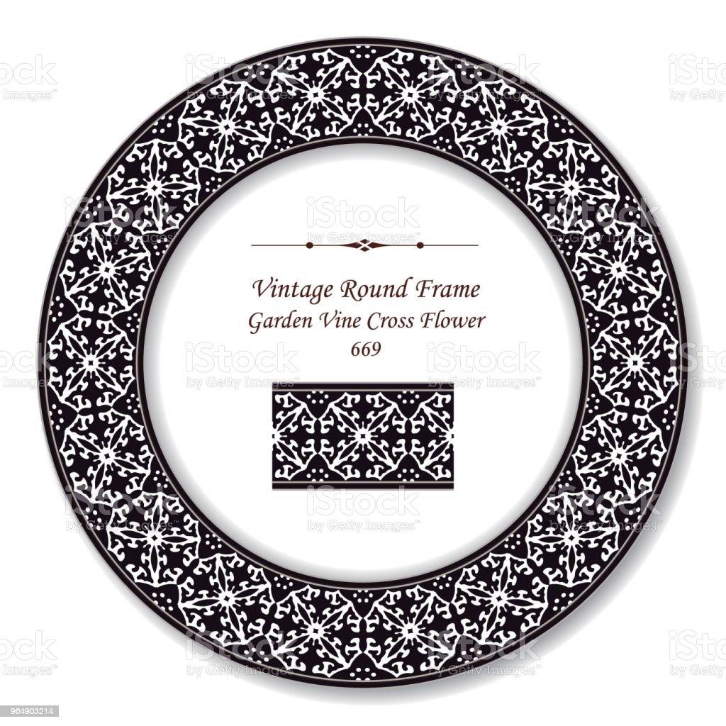 Vintage Round Retro Frame black white garden vine cross flower royalty-free vintage round retro frame black white garden vine cross flower stock vector art & more images of baroque style