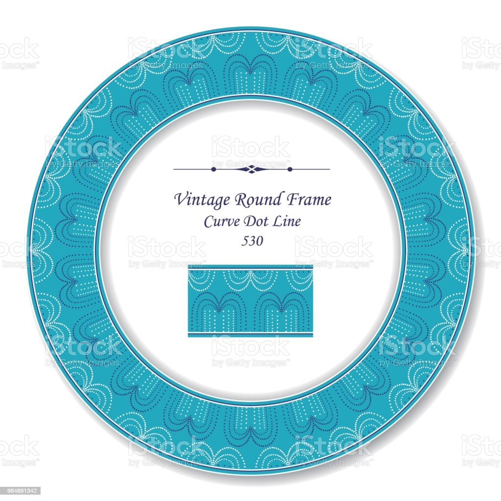 Vintage Round Retro Frame blue round curve dot line royalty-free vintage round retro frame blue round curve dot line stock vector art & more images of baroque style