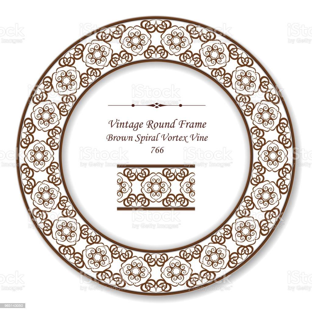Vintage Round Retro Frame brown vortex spiral curve cross vine kaleidoscope vintage round retro frame brown vortex spiral curve cross vine kaleidoscope - stockowe grafiki wektorowe i więcej obrazów adamaszek royalty-free
