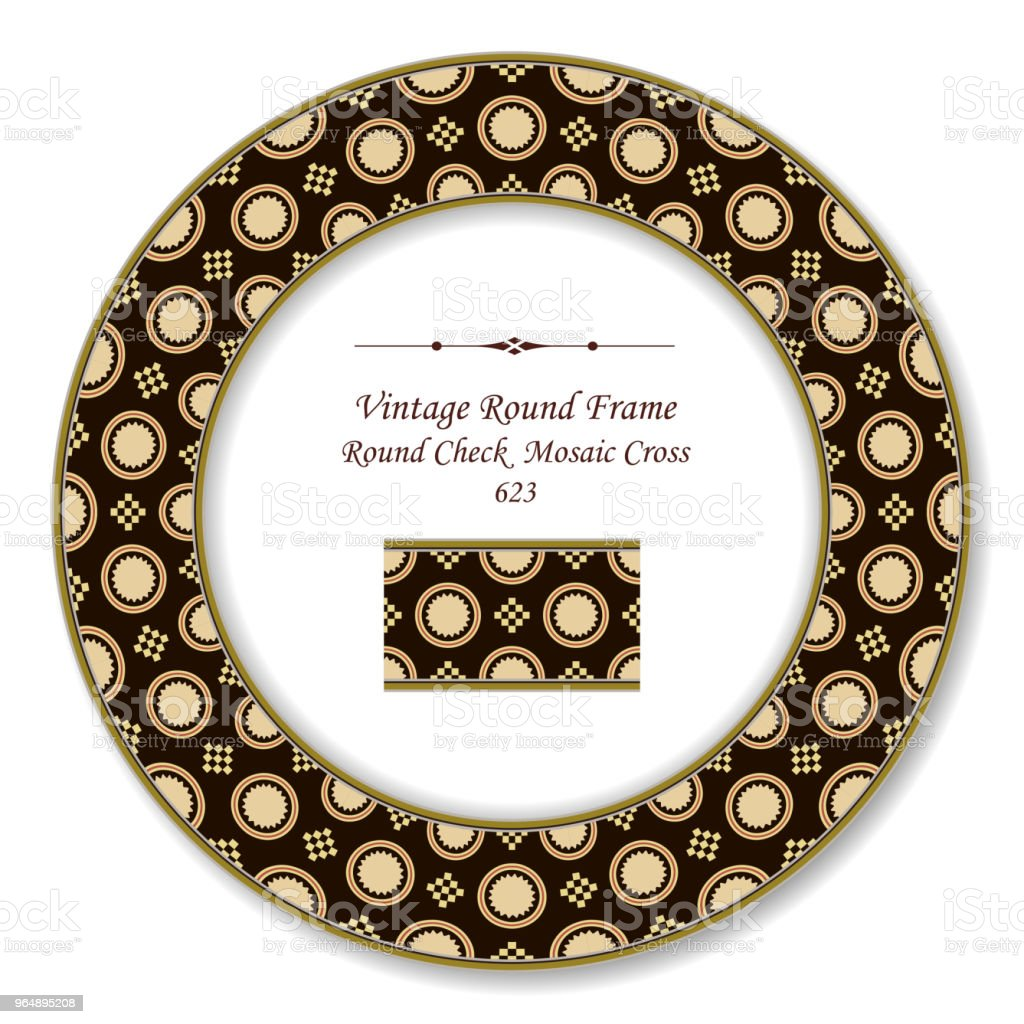 Vintage Round Retro Frame check square mosaic cross royalty-free vintage round retro frame check square mosaic cross stock vector art & more images of baroque style