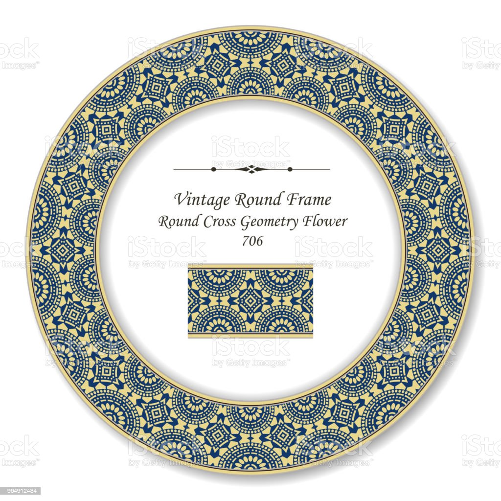 Vintage Round Retro Frame cross dot line flower royalty-free vintage round retro frame cross dot line flower stock vector art & more images of backdrop - artificial scene
