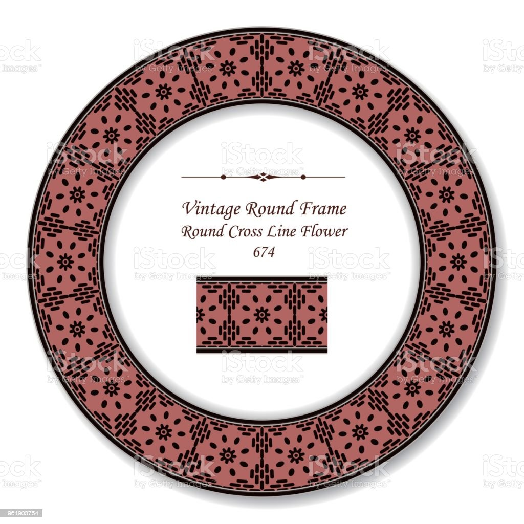 Vintage Round Retro Frame cross line flower royalty-free vintage round retro frame cross line flower stock vector art & more images of baroque style