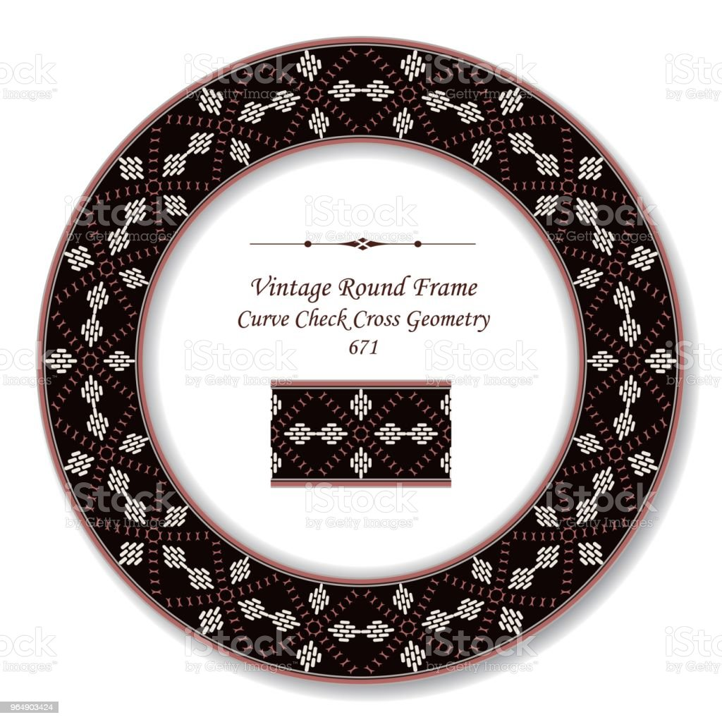 Vintage Round Retro Frame curve check cross geometry royalty-free vintage round retro frame curve check cross geometry stock vector art & more images of baroque style