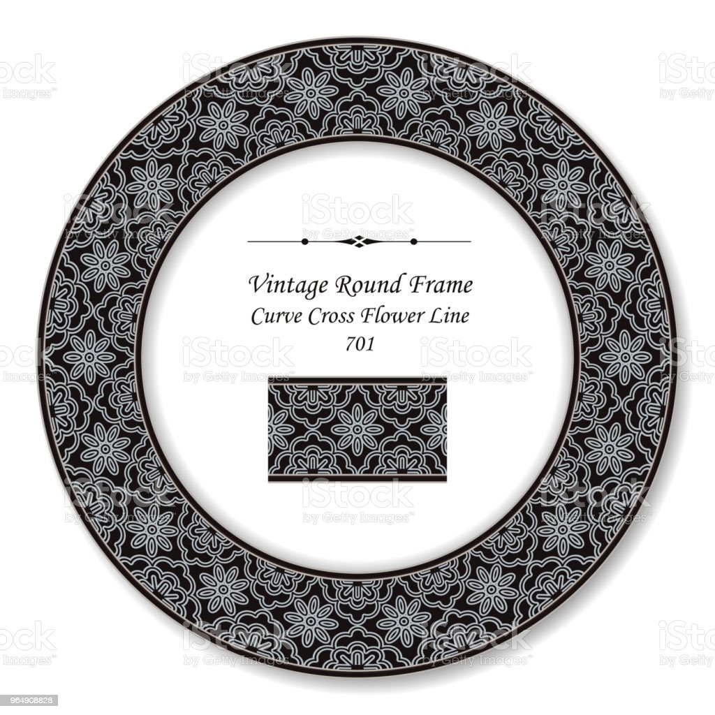Vintage Round Retro Frame curve cross flower line royalty-free vintage round retro frame curve cross flower line stock vector art & more images of backdrop - artificial scene