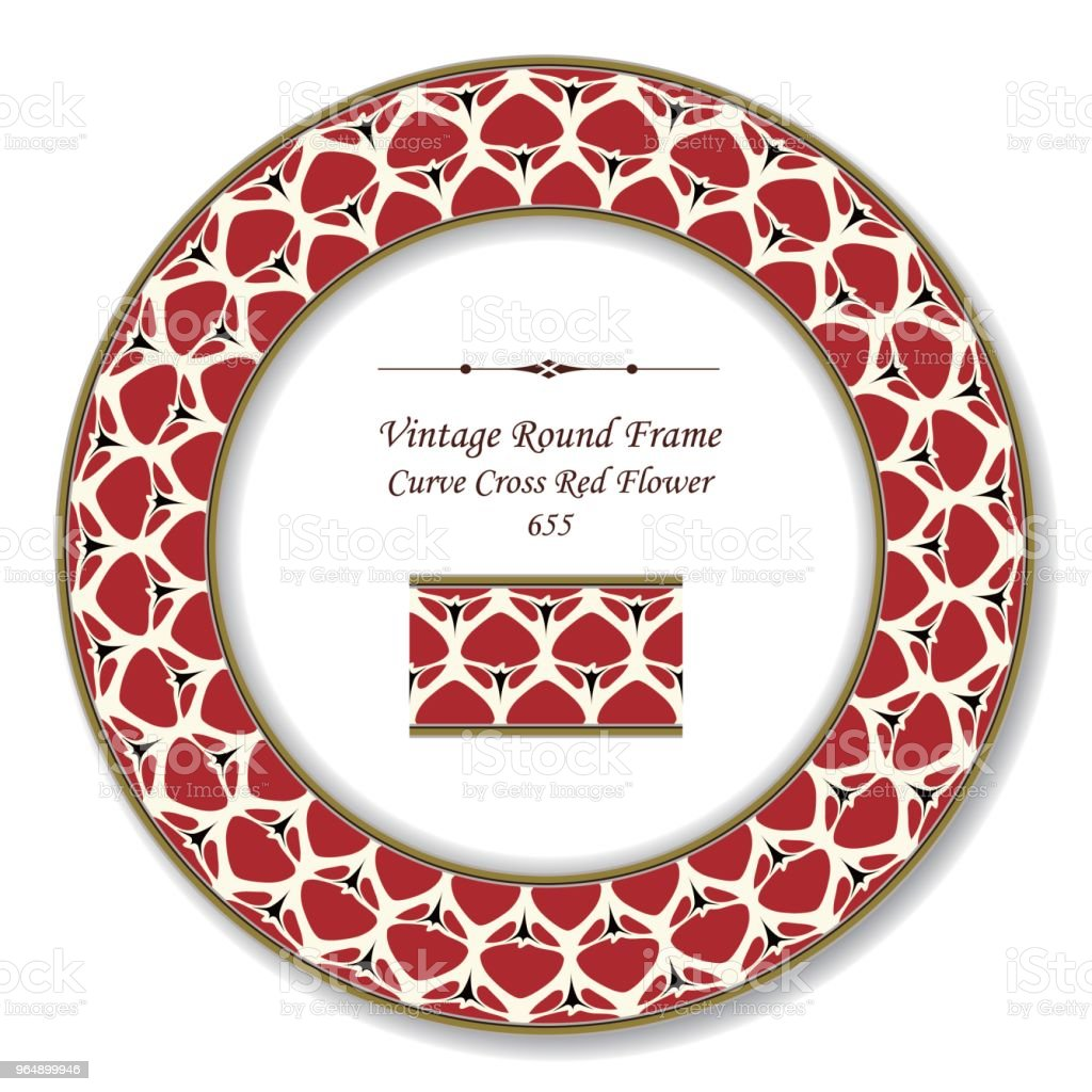 Vintage Round Retro Frame curve cross garden red flower royalty-free vintage round retro frame curve cross garden red flower stock vector art & more images of backdrop