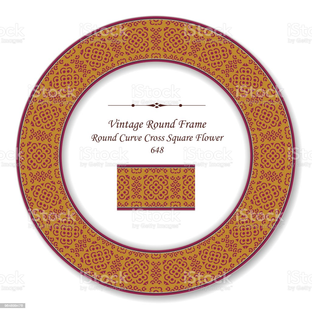 Vintage Round Retro Frame curve cross square flower royalty-free vintage round retro frame curve cross square flower stock vector art & more images of baroque style