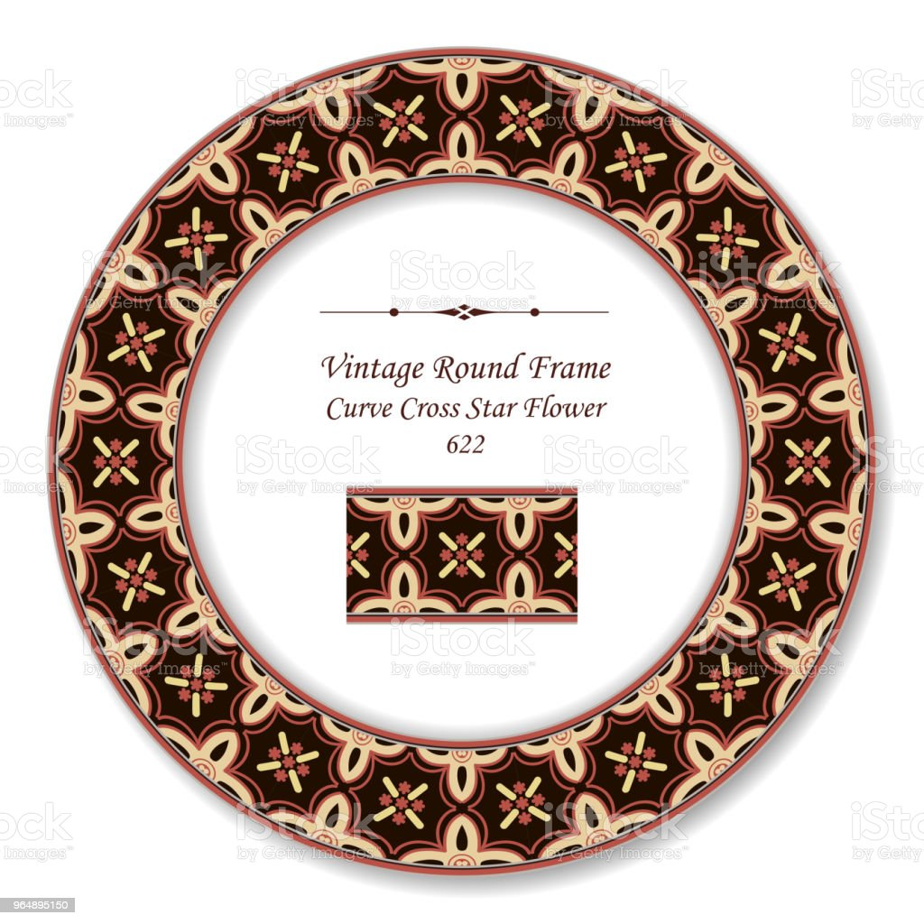 Vintage Round Retro Frame curve cross star flower - Royalty-free Baroque Style stock vector