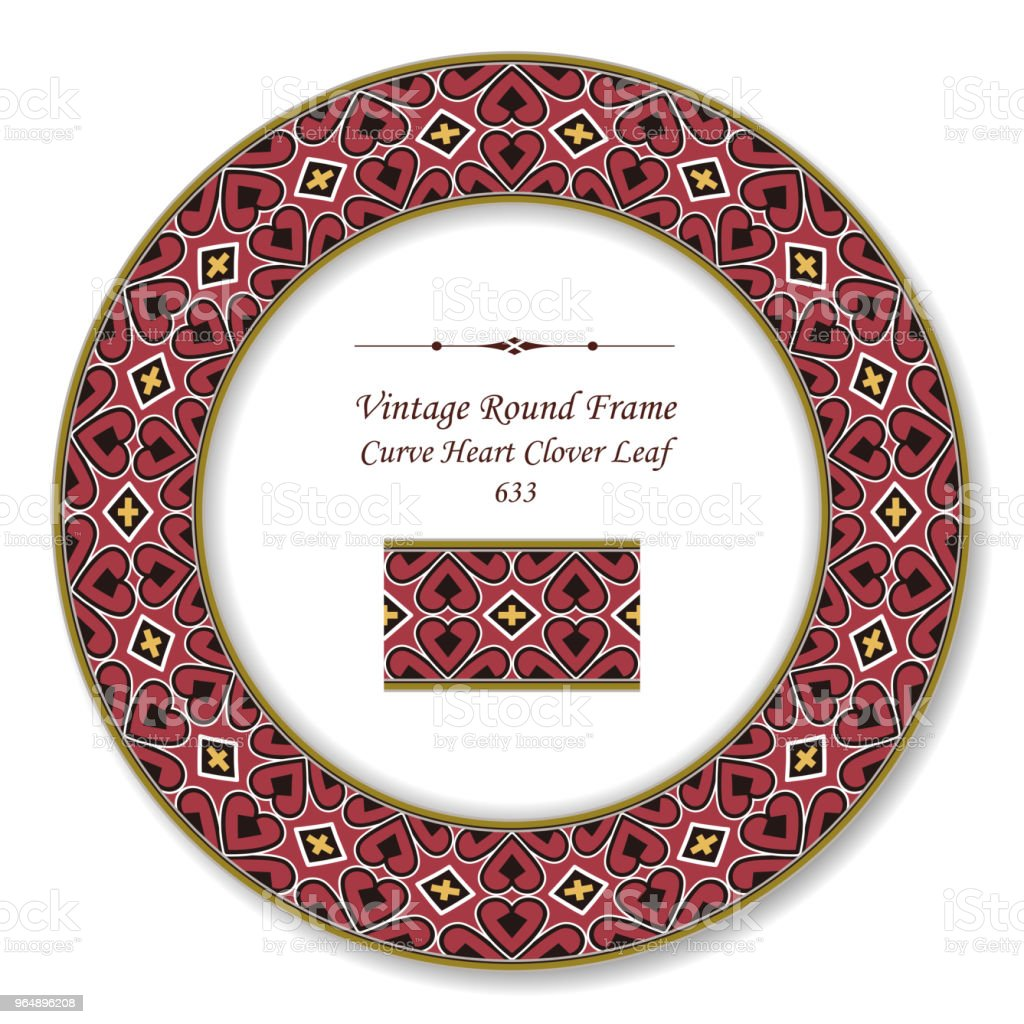 Vintage Round Retro Frame curve heart cross clover leaf royalty-free vintage round retro frame curve heart cross clover leaf stock vector art & more images of baroque style
