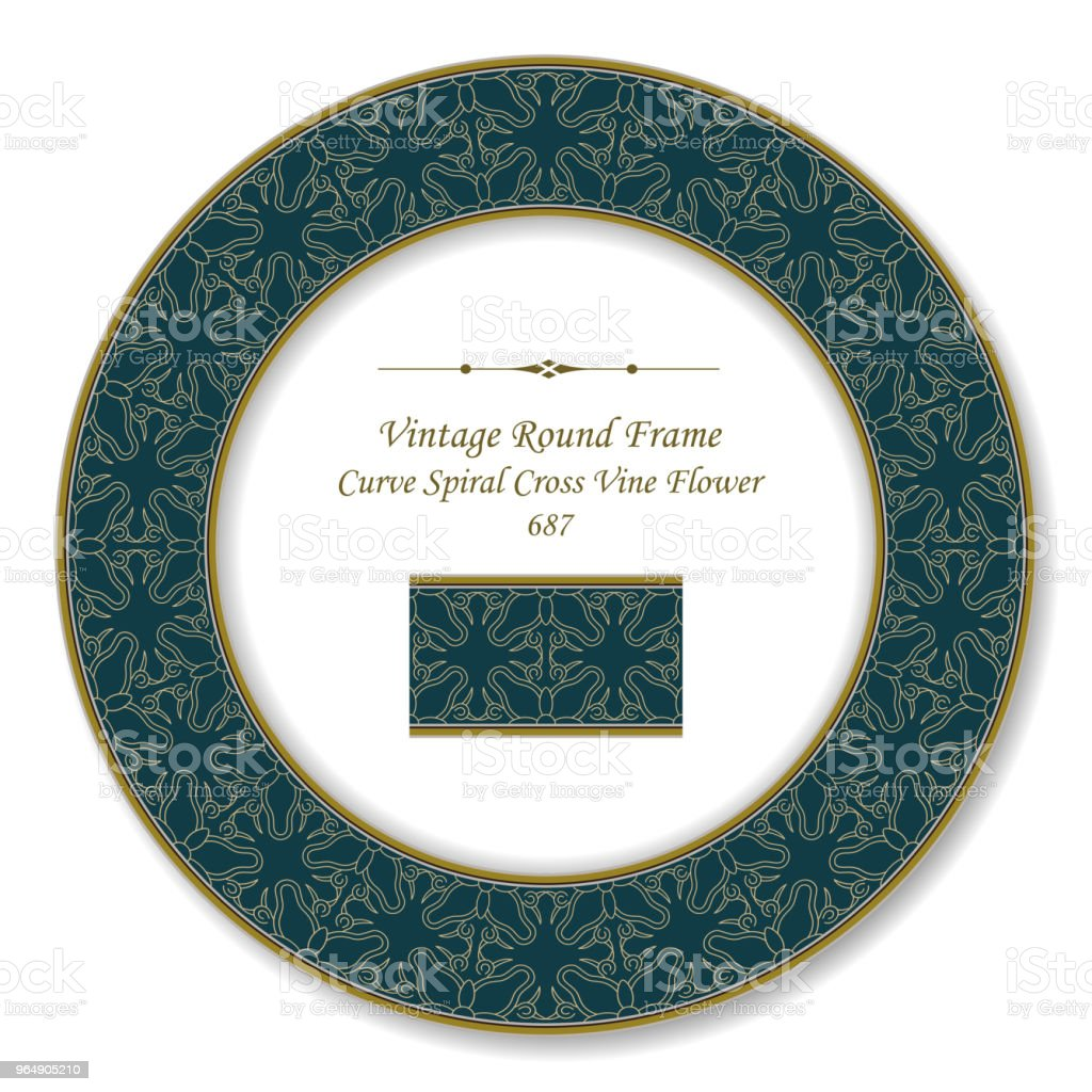 Vintage Round Retro Frame curve spiral cross vine flower royalty-free vintage round retro frame curve spiral cross vine flower stock vector art & more images of backdrop - artificial scene