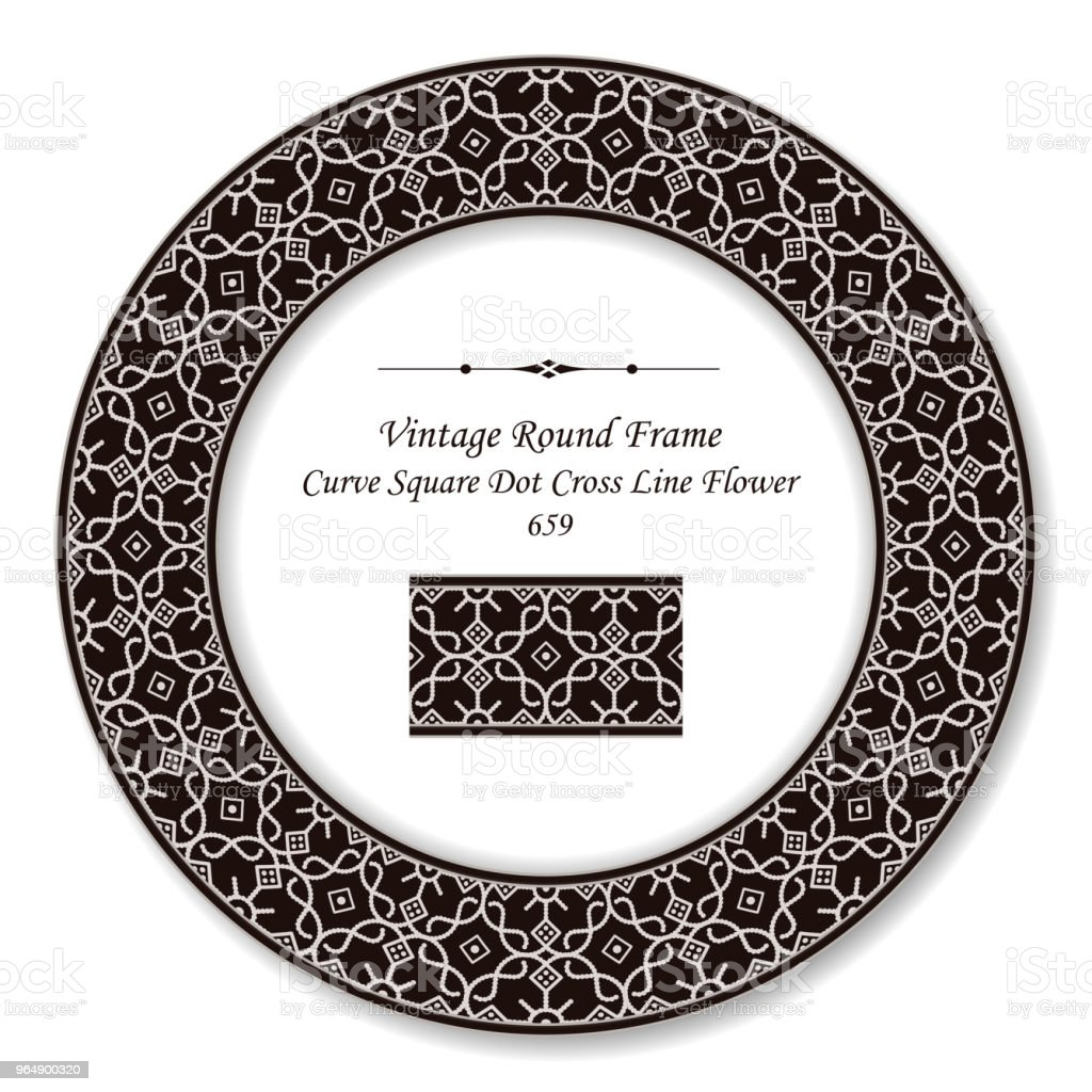 Vintage Round Retro Frame curve square dot cross line flower royalty-free vintage round retro frame curve square dot cross line flower stock vector art & more images of backdrop - artificial scene