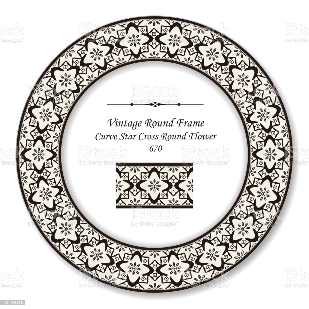 Vintage Round Retro Frame curve star cross round flower royalty-free vintage round retro frame curve star cross round flower stock vector art & more images of backdrop